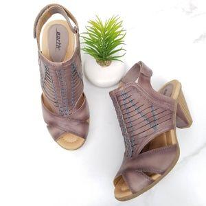 Earth Libra Peep Toe Gray Blue Strap Heels Sandals